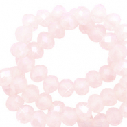Abalorios faceteados disco 4x3 mm Soft pink opal-revestimiento pearl shine