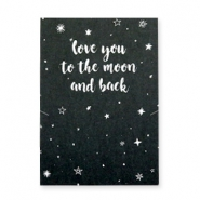 "Tarjetas de felicitación ""LOVE YOU TO THE MOON AND BACK"" negro-blanco"