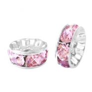 Abalorios Strass rondeles 6mm plata-rosa