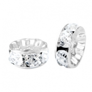 Abalorios Strass rondeles 8mm plata-cristal